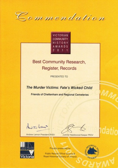 Victoria Community History Awards - Commendation